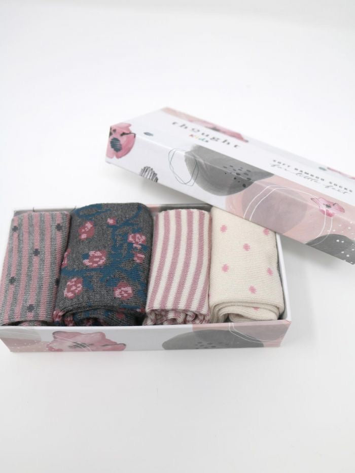 Thought - Rose Bamboo Baby Spot/Stripe Boxed Socks