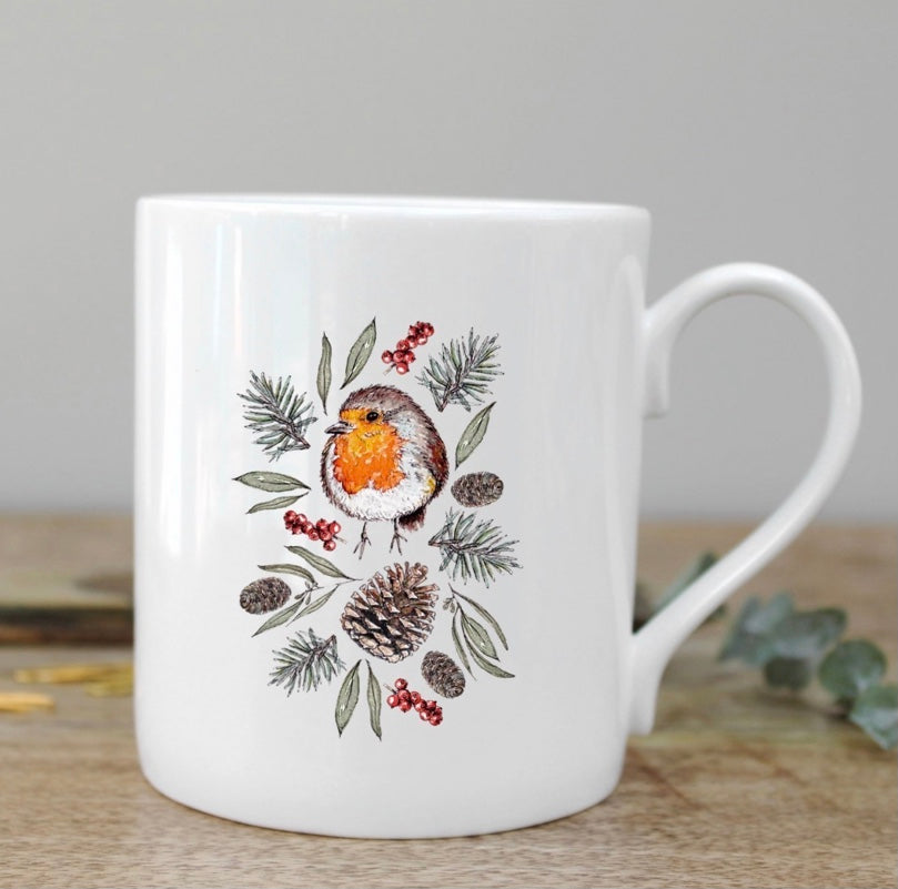 Toasted Crumpet - Winter Robin Fine Bone China Mug