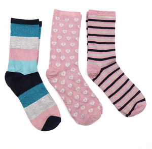 Boxed Socks set of 3 - Pink and Blue