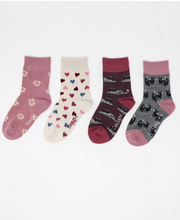 Load image into Gallery viewer, thought - Kitty Bamboo Organic Cotton Blend 4 Pack Kids Socks Gift Box