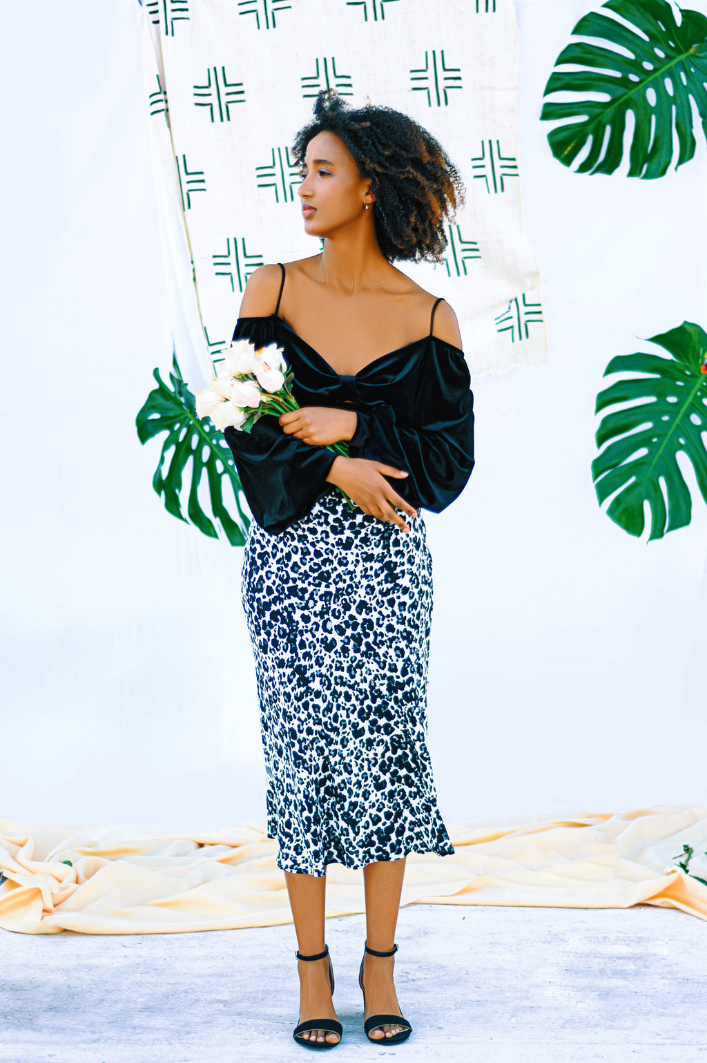 Black and White Leopard Midi Skirt