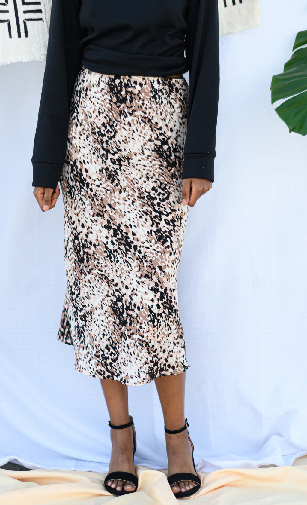 Tan Leopard Midi Skirt