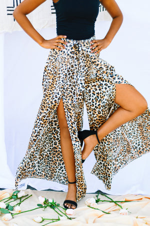 Cheetah Wide Leg Silk Pants