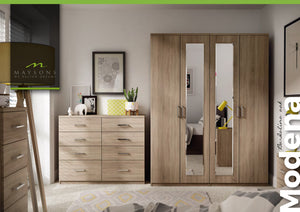 Modena double tall wardrobe with drawers