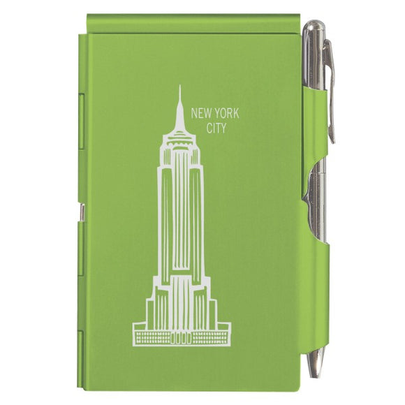 Flip Note - NY - Lime Green Empire State Building