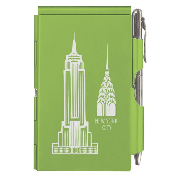 Flip Note - NY - Lime Green Empire & Chrysler