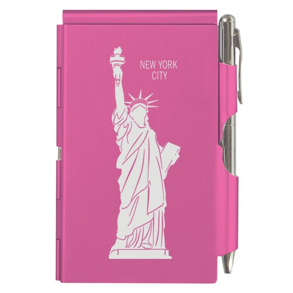 Flip Note - NY - Bright Pink Statue of Liberty