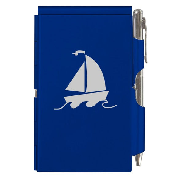 Flip Note - Royal Blue Sailboat