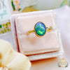 Natural Australian Opal and Diamond Engagement ring in solid 18ct and 22ct Yellow Gold. - Bijoux de Chagall