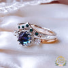 Rare Colour change Alexandrite and Teal Blue Diamonds Romantic Engagement Wishbone ring set ring set in Gold & 925 Silver. - Bijoux de Chagall
