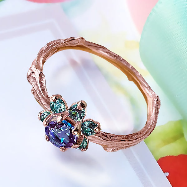 Rare Alexandrite & Fancy Teal Blue Diamonds Flower Cluster Twig Engagement ring in solid 9ct Gold. - Bijoux de Chagall