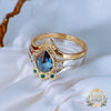 Rare Colour change Pear Alexandrite with White and Teal Diamonds 3 ring set in 18ct Gold & 9ct White Gold. - Bijoux de Chagall