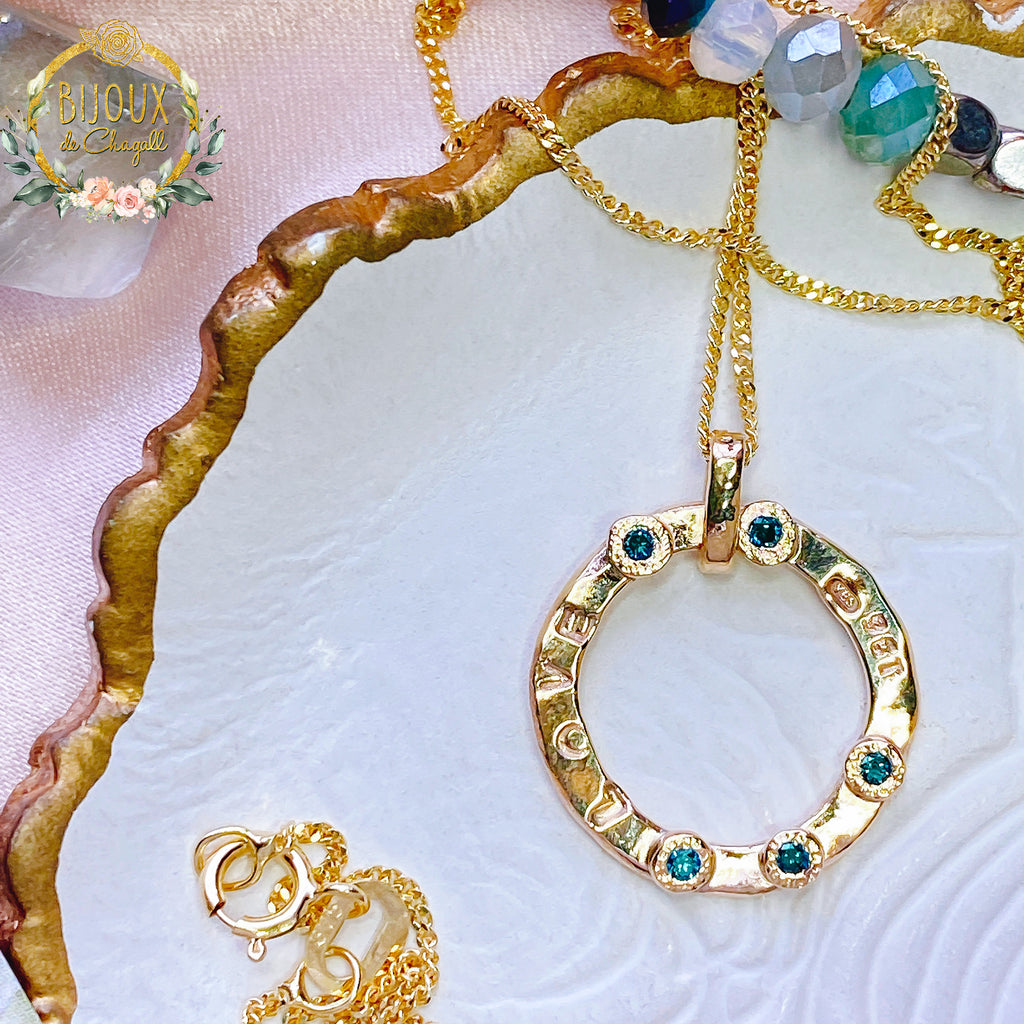 Teal Blue Fancy Diamonds and solid Gold Circle of Love necklace in 9ct or 18ct solid Yellow Gold - Bijoux de Chagall