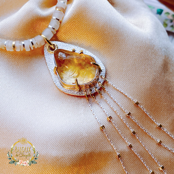 Natural raw Citrine and Pearl Beaded Organic style necklace in 9ct solid Yellow Gold and 999 & 925 Silver. - Bijoux de Chagall