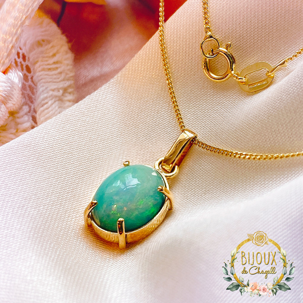 Classic style Natural Ethiopian Opal pendant necklace in solid 9ct Yellow Gold. - Bijoux de Chagall
