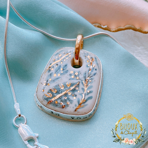 Floral Garden Hand Painted Solid Gold and Fine Silver Ceramic Bisque Pendant Necklace - Bijoux de Chagall