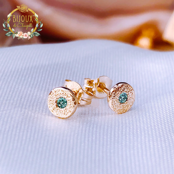 Diamond Stardust style Stud Earrings in 9ct / 18ct solid Gold - Bijoux de Chagall