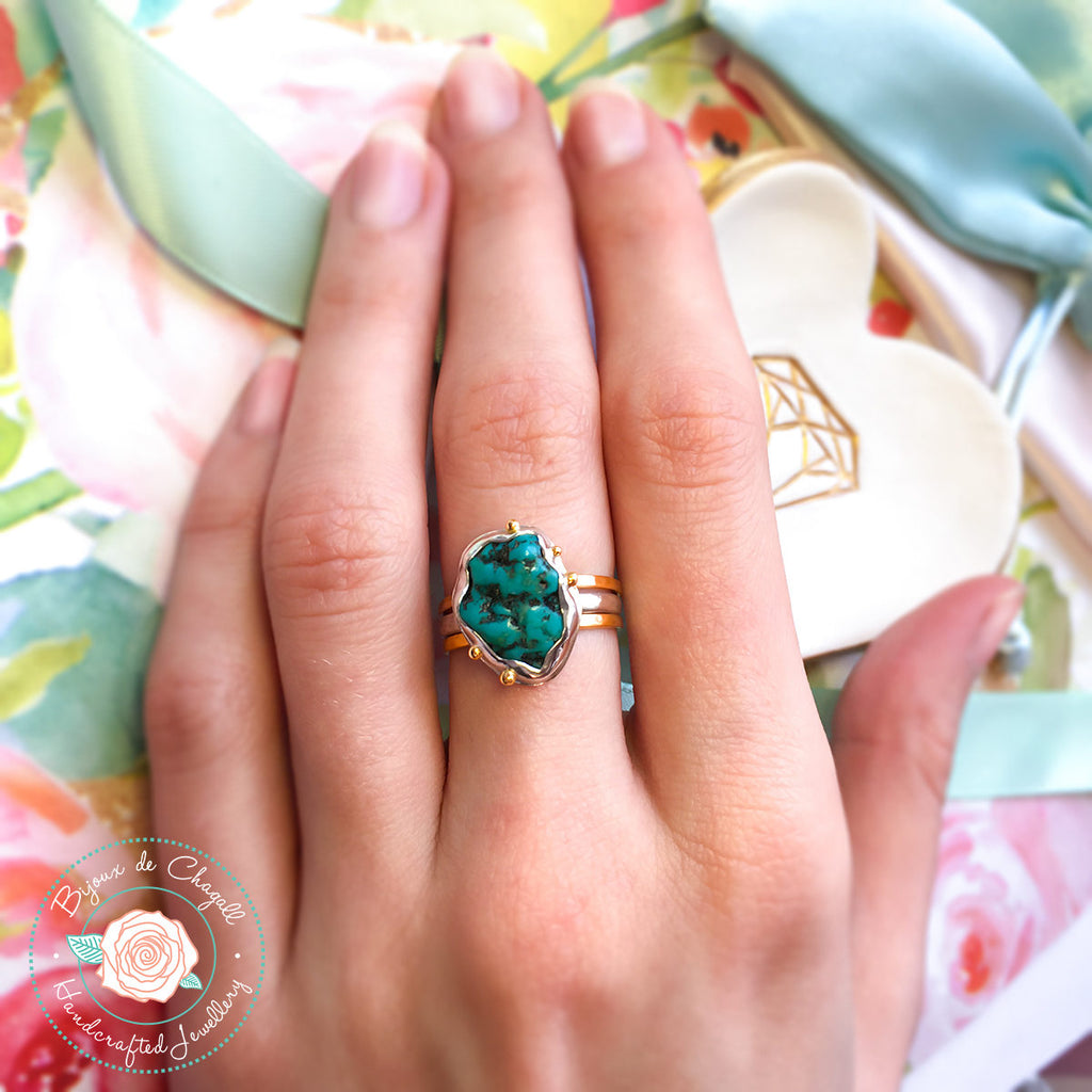 Natural free form Turquoise Stackable ring set in 9ct or 14k solid gold and 925 Silver - Bijoux de Chagall