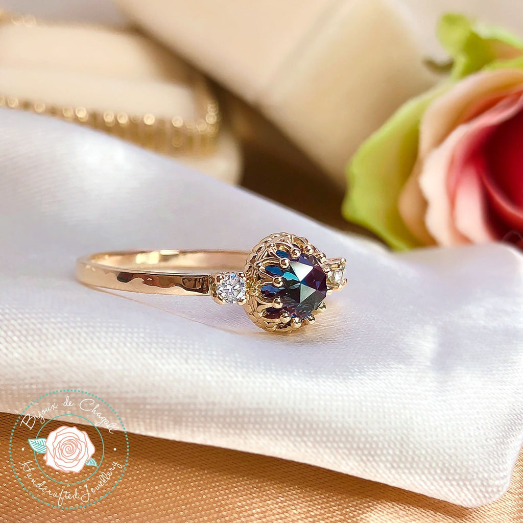 Rare colour change Alexandrite & White Diamonds Vintage Style Engagement ring in solid 14k Yellow gold. - Bijoux de Chagall