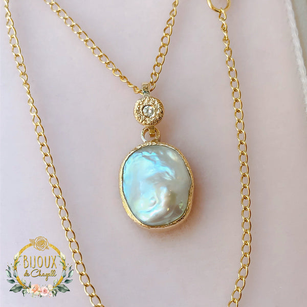 Organic style Keshi Pearl & Natural Diamond Stardust necklace 9ct or 18ct solid Yellow Gold - Bijoux de Chagall