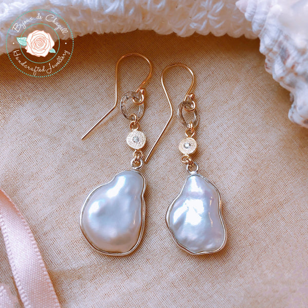 White Keshi Freeform Pearl and Diamond Drop Earrings in 9ct solid Yellow Gold and 925 Silver - Bijoux de Chagall