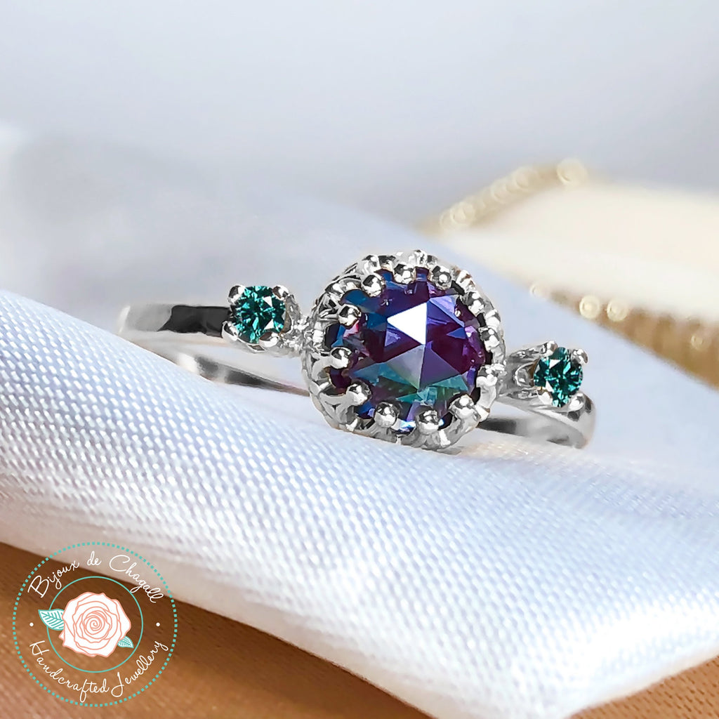 Rare Alexandrite Engagement ring with Natural White or Teal Diamonds 925 Sterling Silver ring - Bijoux de Chagall