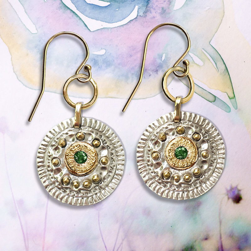 Artisan Emerald Byzantine style Earrings, in 9ct solid Gold and 925 Silver. - Bijoux de Chagall