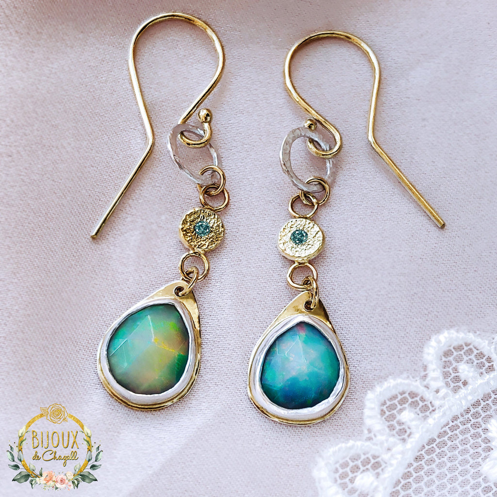 Freeform Ocean-Blue Natural Opals and Diamonds Gold Drop Earrings in 9ct solid Gold and Fine Silver - Bijoux de Chagall