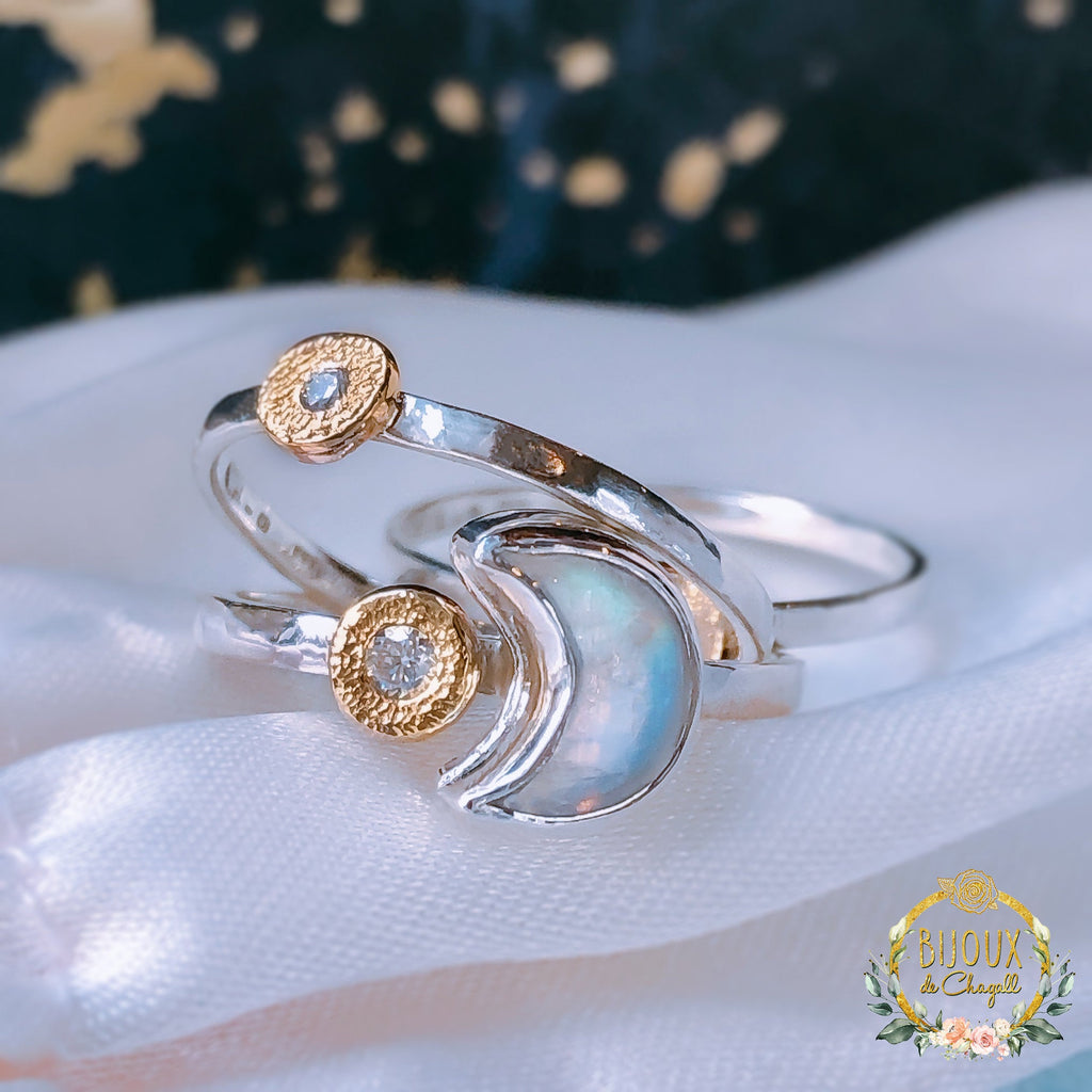 Rainbow Moonstone Crescent Moon & Moissanite Diamond engagement stacking ring set in 9ct solid Gold, 925 Silver - Bijoux de Chagall