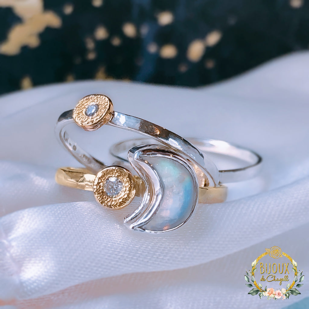 Rainbow Moonstone Crescent Moon & Star Natural Diamonds engagement ring set in 9ct/14k solid Gold and Silver - Bijoux de Chagall