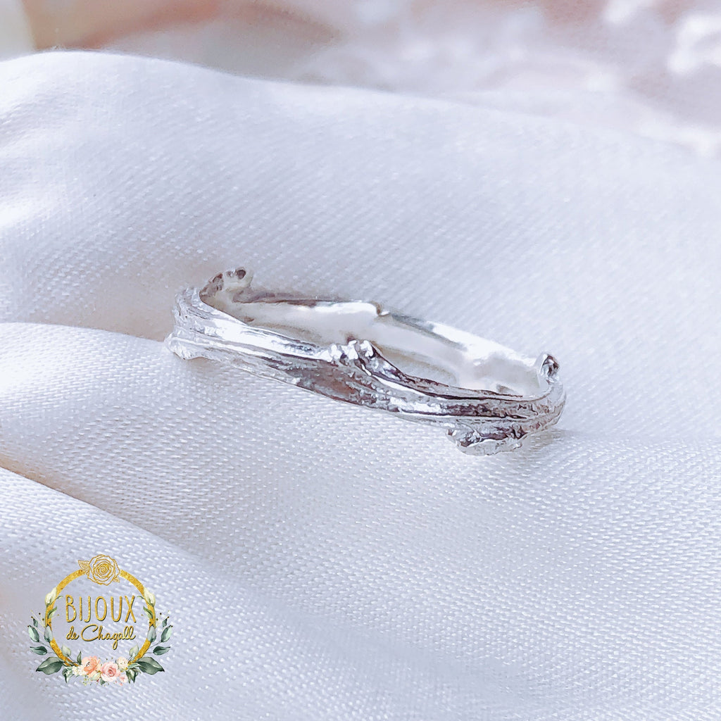 Unique, Organic style Twig Wedding Ring in 925 Sterling Silver. - Bijoux de Chagall