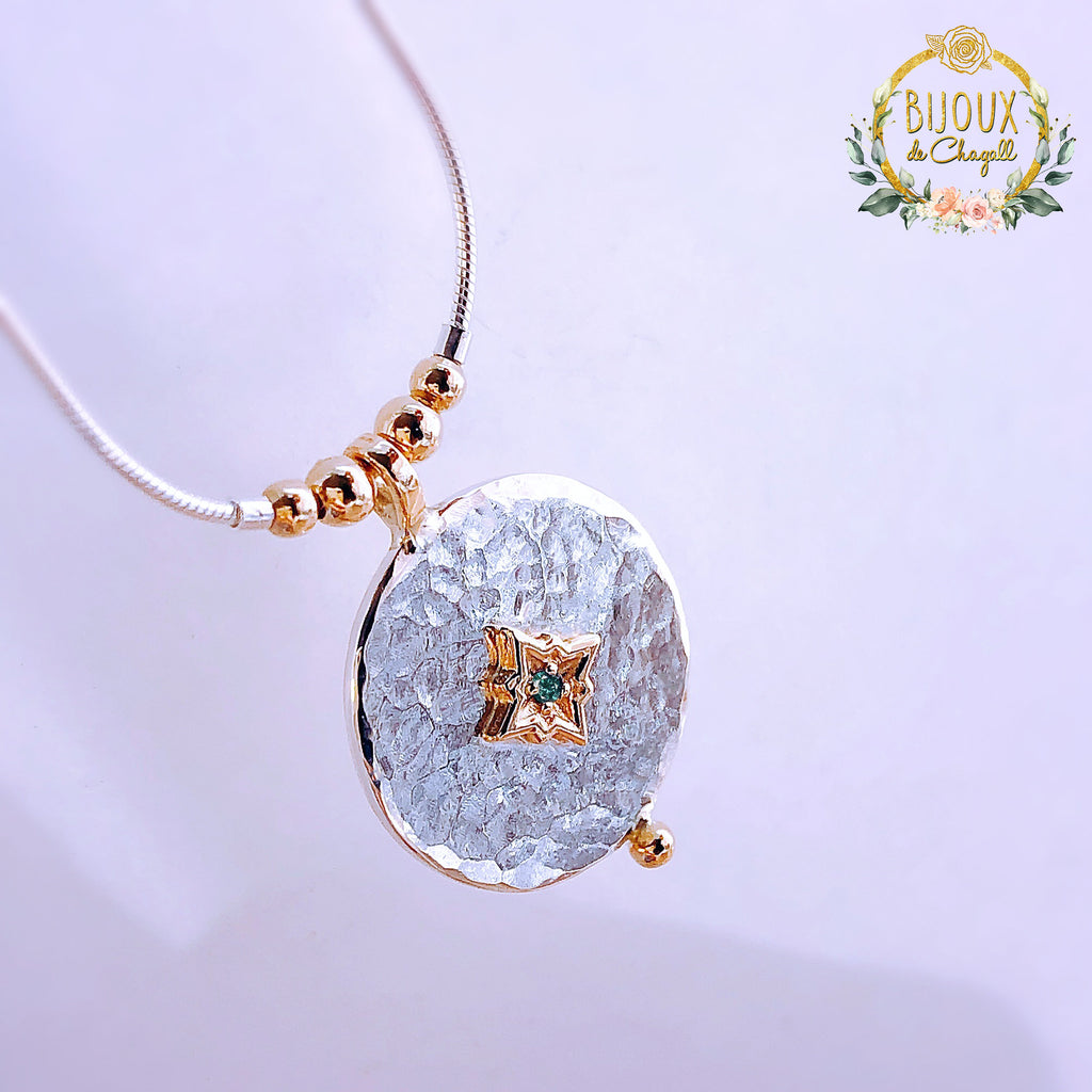 Teal Blue Fancy Diamond North Pole Star Celestial Pendant Necklace in 9ct solid Gold and 925 Silver - Bijoux de Chagall