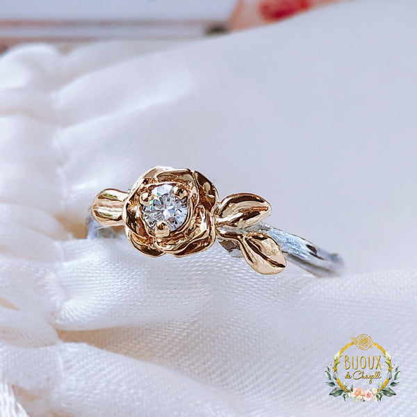 Diamond Rose Flower Unique Twig Engagement ring in solid 9ct Yellow Gold & Sterling Silver. - Bijoux de Chagall