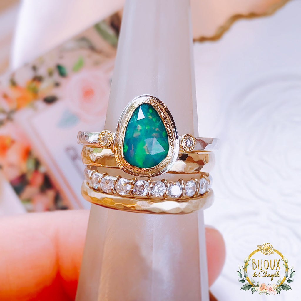 Natural Ocean green Opal and Diamond Engagement ring in solid 18ct Yellow Gold and 925 Silver - Bijoux de Chagall