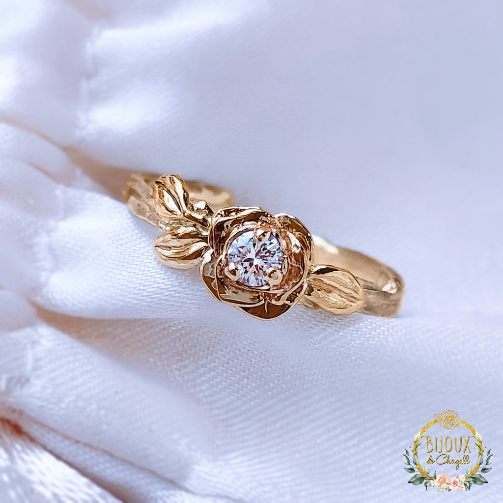 Natural Diamond Flower Rose Twig Engagement ring in solid 9ct Yellow/Rose Gold. - Bijoux de Chagall