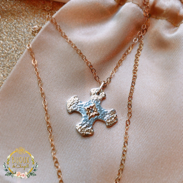 Handcrafted White Diamond Gold Star Cross Pendant necklace in 9ct solid Yellow Gold and Fine Silver - Bijoux de Chagall