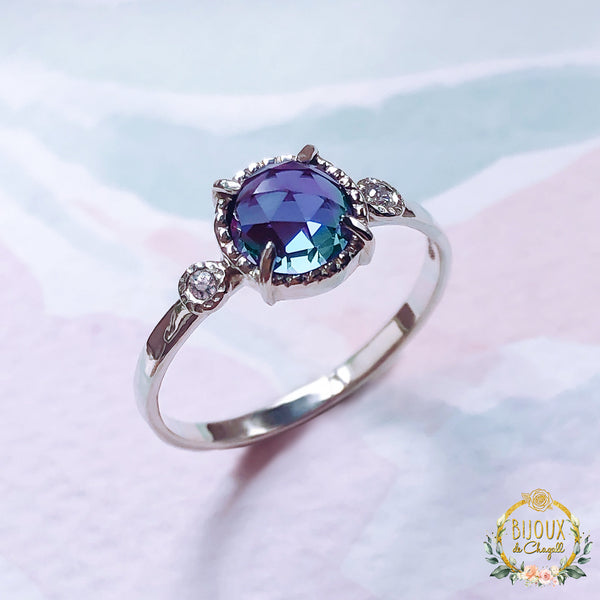 Rare Colour change Alexandrite & White or Blue Diamonds Unique Engagement ring in 9ct Solid White Gold. - Bijoux de Chagall