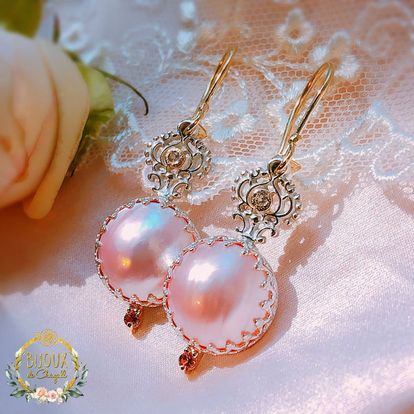 Pastel Pink Mabe Pearl Crown Lace Drop Dangle Earrings in 9ct solid Yellow Gold and 925 Silver - Bijoux de Chagall