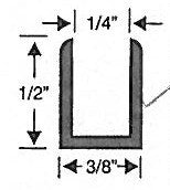 U Channel for Shower Doors Deep 1/4