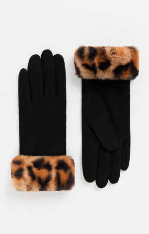 Pia Rossini Black Stretch Gloves with Fur Trim NOW HALF PRICE