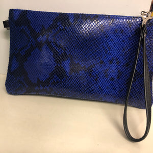 Leather Snakeskin Clutch Cobalt NOW HALF PRICE