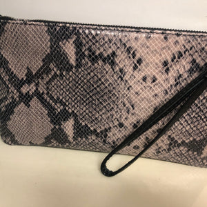 Leather Snakeskin Clutch Grey