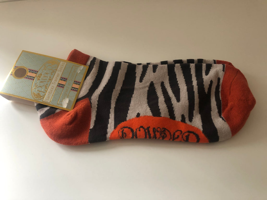 Powder Zebra Print Trainer Socks