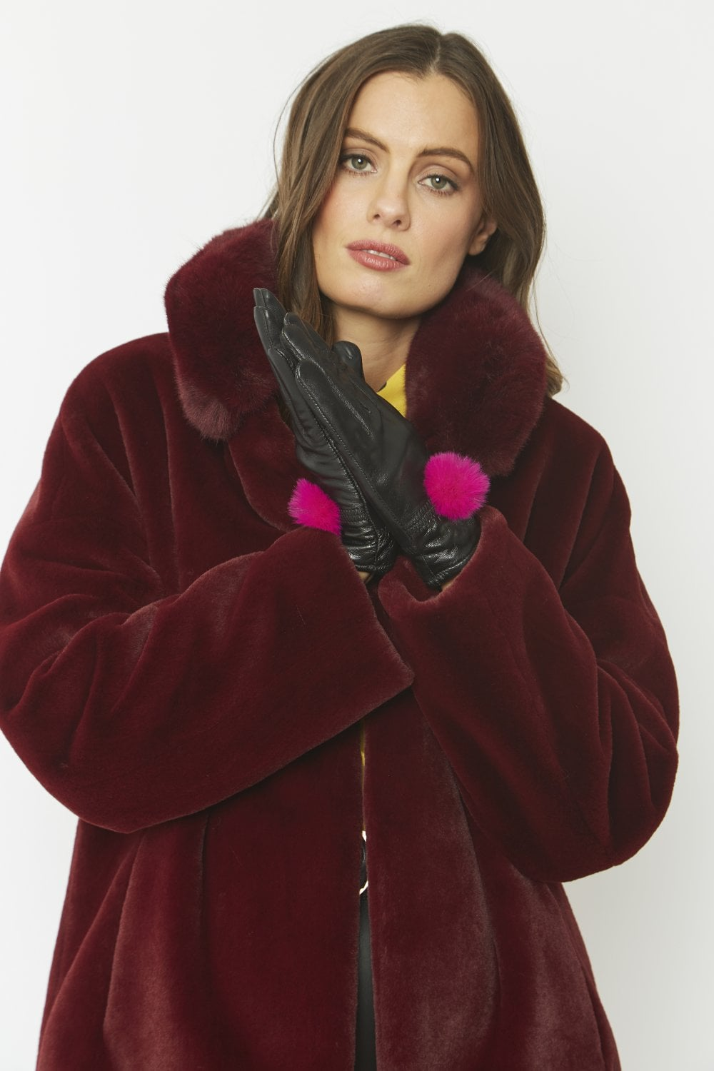 Black Leather Gloves with Pink Fur NOW HALF PRICE