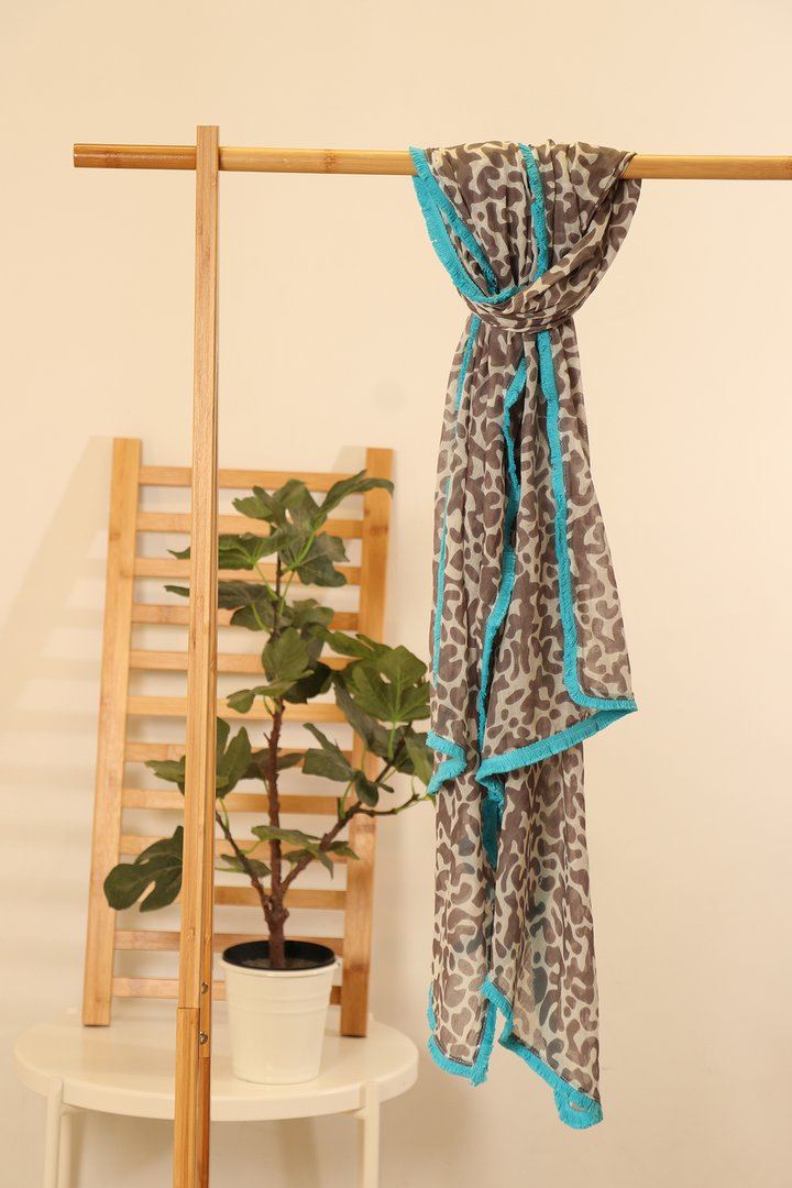 Turquoise Trim Animal Print Scarf