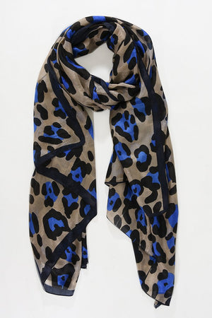 Blue  Animal Print Silk Scarf NOW HALF PRICE