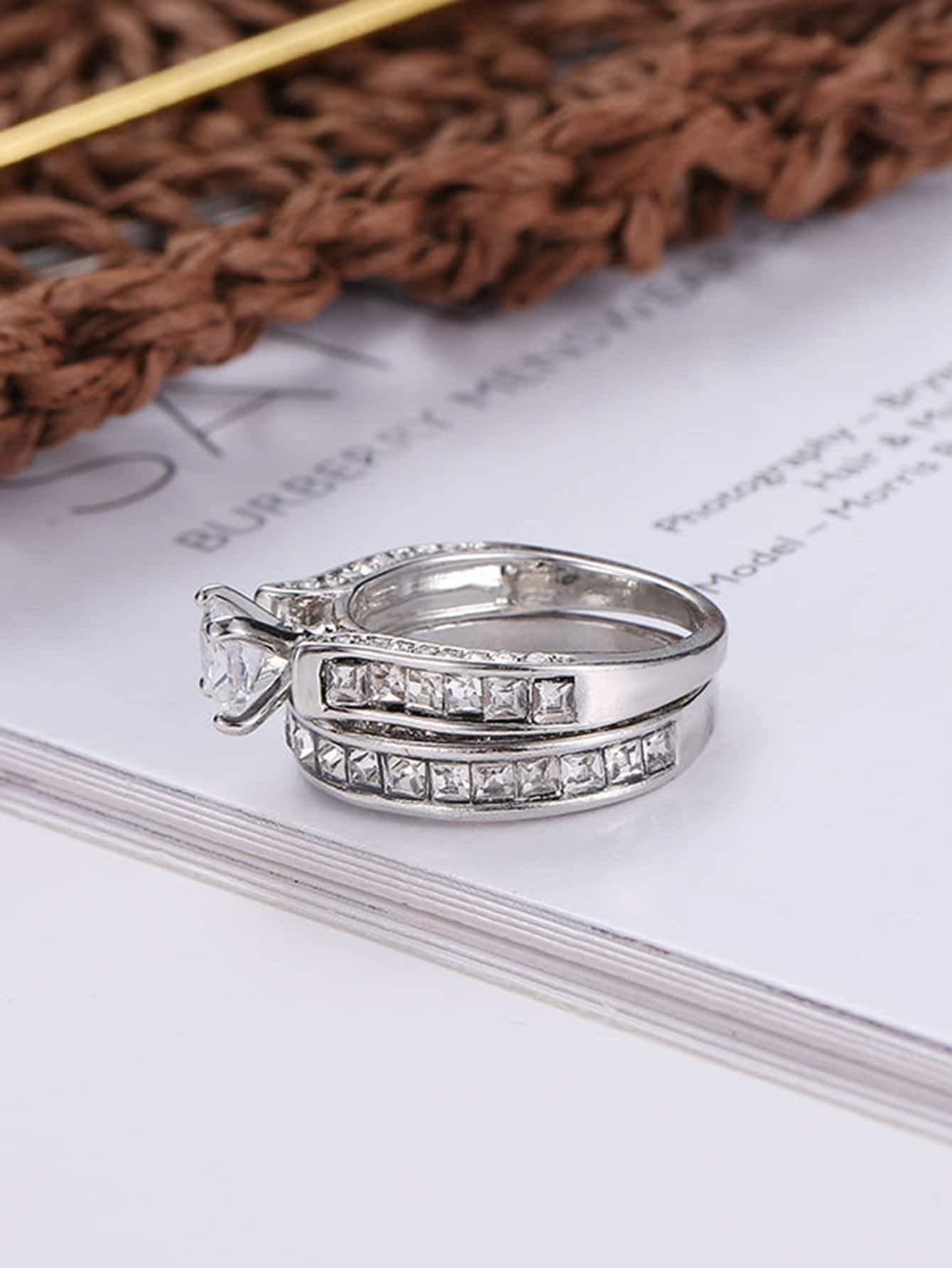 Rhinestone Engraved Ring Set 2pcs