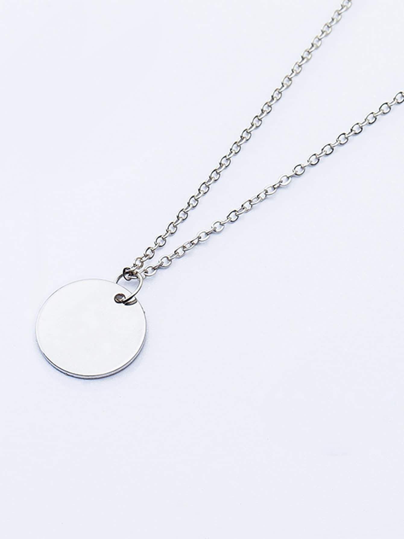 Flat Disc Pendant Necklace