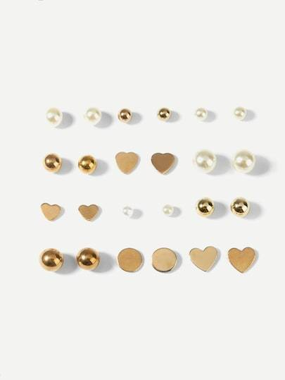 Faux Pearl Stud Earrings 12pairs