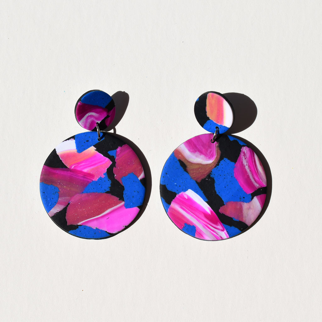 Full Moon Earrings; Cobalt & Magenta Dreams